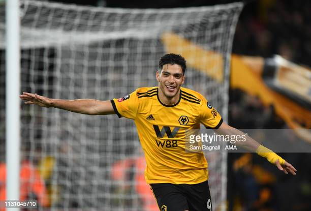 Raul Jimenez of Wolverhampton Wanderers celebrates after scoring a goal to make it 10 during the FA Cup Quarter Final match between Wolverhampton...
