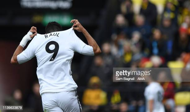 Raul Jimenez of Wolverhampton Wanderers celebrates after scoring a goal to make it 01 during the Premier League match between Watford FC and...