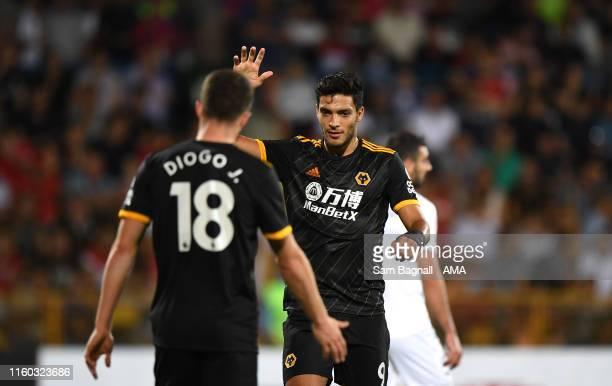 Raul Jimenez of Wolverhampton Wanderers celebrates after scoring a goal to make it 02 during the UEFA Europa League Third Qualifying Round First Leg...