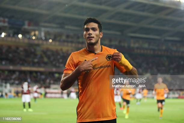 Raul Jimenez of Wolverhampton Wanderers celebrates after scoring a goal to make it 13 during the UEFA Europa League PlayOff match between Torino and...