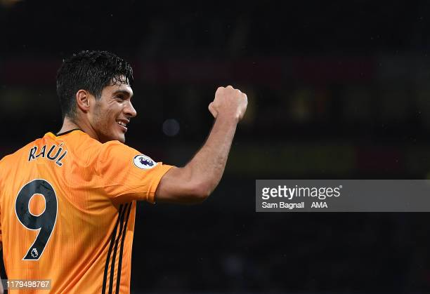 Raul Jimenez of Wolverhampton Wanderers celebrates after scoring a goal to make it 1-1l during the Premier League match between Arsenal FC and...