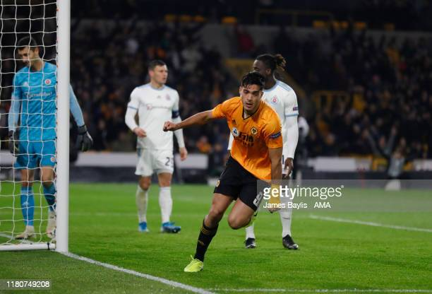 Raul Jimenez of Wolverhampton Wanderers celebrates after scoring a goal to make it 10 during the UEFA Europa League group K match between...