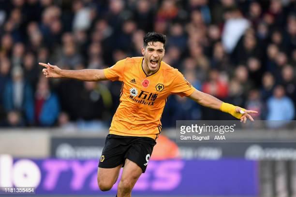 Raul Jimenez of Wolverhampton Wanderers celebrates after scoring a goal to make it 2-0 during the Premier League match between Wolverhampton...