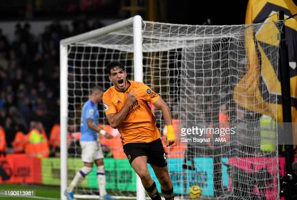 Raul Jimenez of Wolverhampton Wanderers celebrates after scoring a goal to make it 2-2 during the Premier League match between Wolverhampton...