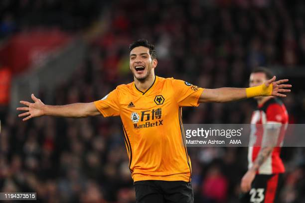 Raul Jimenez of Wolverhampton Wanderers celebrates after scoring a goal to make it 2-3 during the Premier League match between Southampton FC and...