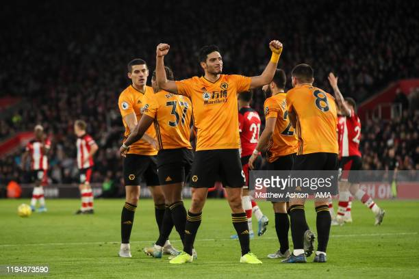 Raul Jimenez of Wolverhampton Wanderers celebrates after scoring a goal to make it 23 during the Premier League match between Southampton FC and...