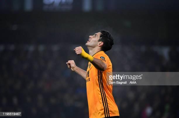 Raul Jimenez of Wolverhampton Wanderers celebrates after scoring a goal to make it 1-1 during the Premier League match between Wolverhampton...