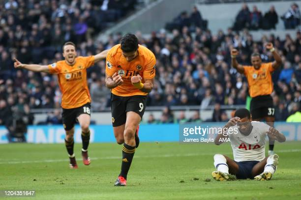 Raul Jimenez of Wolverhampton Wanderers celebrates after scoring a goal to make it 23 during the Premier League match between Tottenham Hotspur and...
