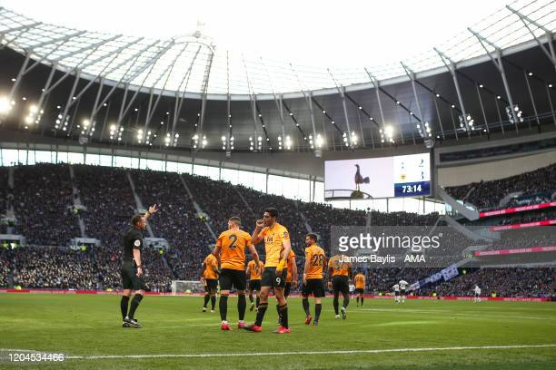 Raul Jimenez of Wolverhampton Wanderers celebrates after scoring a goal to make it 32 during the Premier League match between Tottenham Hotspur and...