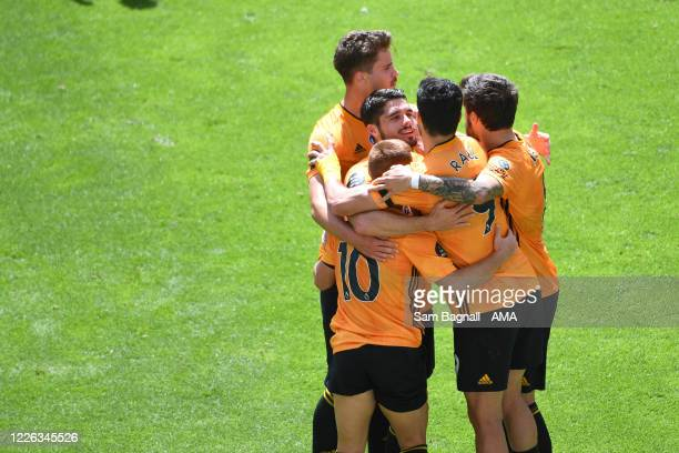 Raul Jimenez of Wolverhampton Wanderers celebrates after scoring a goal to make it 10 during the Premier League match between Wolverhampton Wanderers...