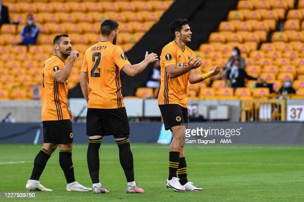 Raul Jimenez of Wolverhampton Wanderers celebrates after scoring a goal to make it 1-0 during the UEFA Europa League round of 16 second leg match...