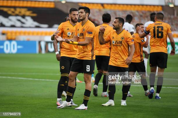 Raul Jimenez of Wolverhampton Wanderers celebrates after scoring a goal to make it 10 during the UEFA Europa League round of 16 second leg match...