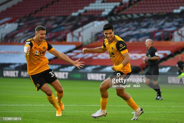Raul Jimenez of Wolverhampton Wanderers celebrates after scoring a goal to make it 0-1 during his 100th appearance during the Premier League match...