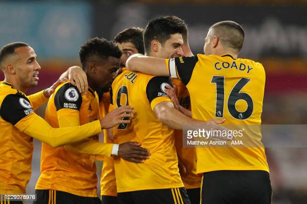 Raul Jimenez of Wolverhampton Wanderers celebrates after scoring a goal to make it 10 with Conor Coady during the Premier League match between...