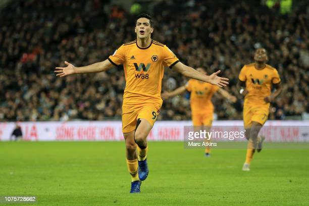 Raul Jimenez of Wolverhampton Wanderers celebrates after scoring his team's second goal during the Premier League match between Tottenham Hotspur and...