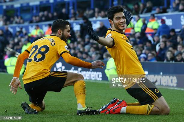 Raul Jimenez of Wolverhampton Wanderers celebrates after scoring his team's second goal with Joao Moutinho of Wolverhampton Wanderers during the...