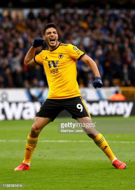 Raul Jimenez of Wolverhampton Wanderers celebrates after scoring his team's second goal during the Premier League match between Wolverhampton...
