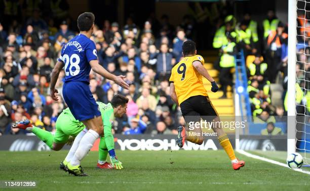 Raul Jimenez of Wolverhampton Wanderers celebrates after scoring his team's first goal during the Premier League match between Chelsea FC and...