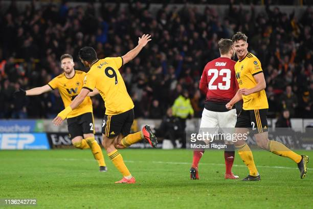 Raul Jimenez of Wolverhampton Wanderers celebrates after scoring his team's first goal during the FA Cup Quarter Final match between Wolverhampton...