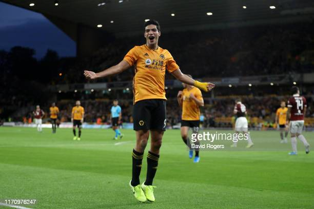 Raul Jimenez of Wolverhampton Wanderers celebrates after scoring his team's first goal during the UEFA Europa League PlayOff Second Leg match between...