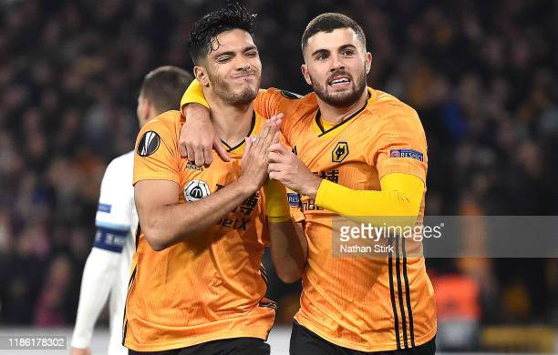 Raul Jimenez of Wolverhampton Wanderers celebrates after scoring his team's first goal with Patrick Cutrone during the UEFA Europa League group K...