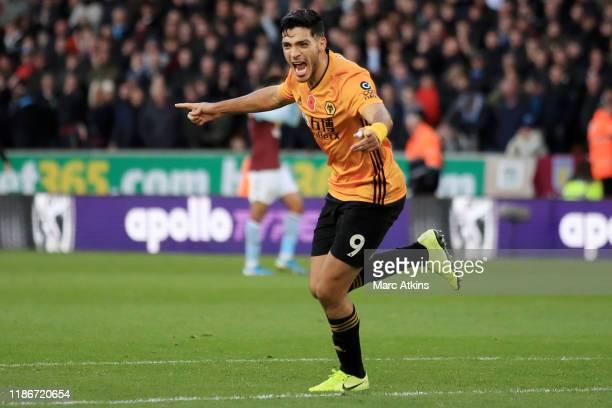 Raul Jimenez of Wolverhampton Wanderers celebrates after scoring his team's second goal during the Premier League match between Wolverhampton...