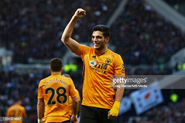 Raul Jimenez of Wolverhampton Wanderers celebrates after scoring his side's third goal during the Premier League match between Tottenham Hotspur and...