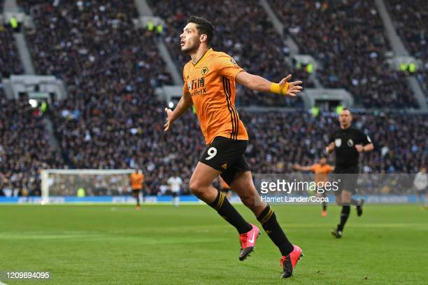 Raul Jimenez of Wolverhampton Wanderers celebrates after scoring his team's third goal during the Premier League match between Tottenham Hotspur and...
