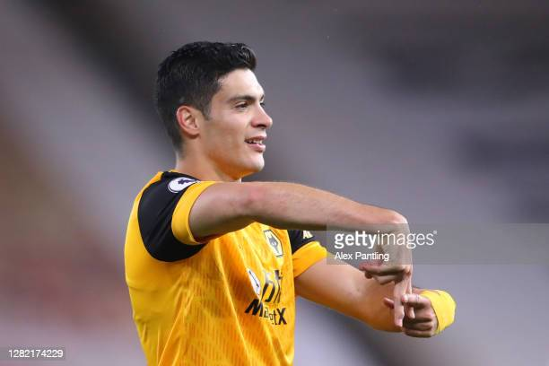Raul Jimenez of Wolverhampton Wanderers celebrates after scoring his sides first goal during the Premier League match between Wolverhampton Wanderers...