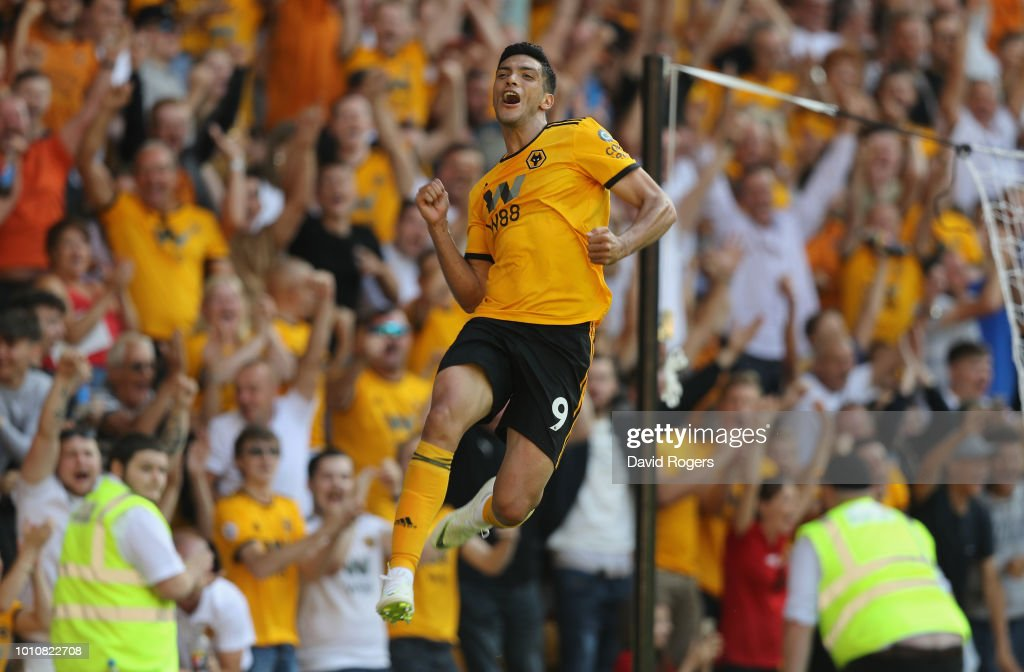 Raul Jimenez of Wolverhampton Wanderers celebrates after scoring their second goal during the pre-season friendly match between Wolverhampton Wanderers and Villareal at Molineux on August 4, 2018 in Wolverhampton, England.