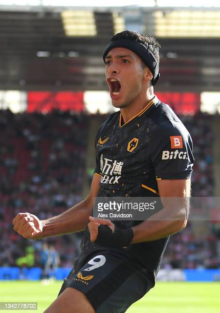 Raul Jimenez of Wolverhampton Wanderers celebrates after scoring their side's first goal during the Premier League match between Southampton and...
