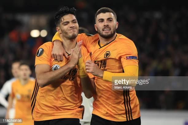 Raul Jimenez of Wolverhampton Wanderers celebrates scoring his goal with Patrick Cutrone during the UEFA Europa League group K match between...