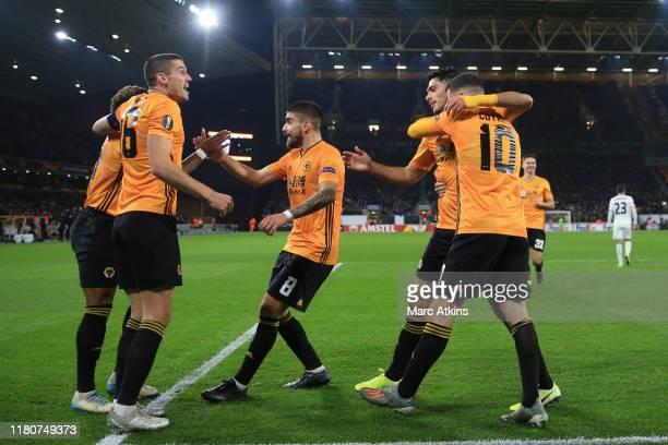 Raul Jimenez of Wolverhampton Wanderers celebrates scoring his goal with team mates during the UEFA Europa League group K match between Wolverhampton...