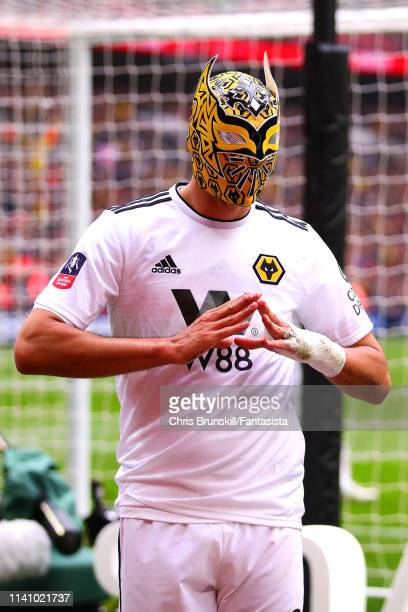 Raul Jimenez of Wolverhampton Wanderers celebrates scoring his side's second goal during the FA Cup Semi Final match between Watford and...