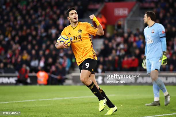Raul Jimenez of Wolverhampton Wanderers celebrates scoring his sides second goal from the penalty box during the Premier League match between...