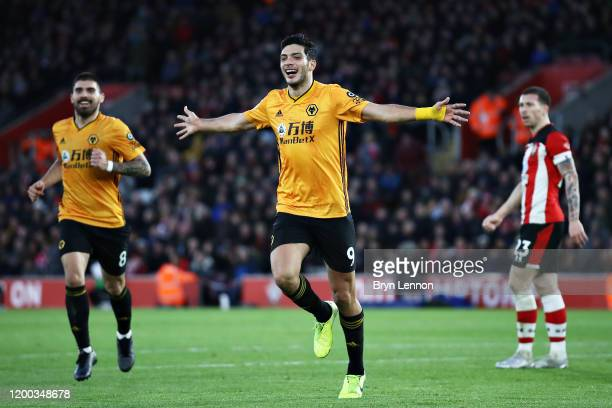 Raul Jimenez of Wolverhampton Wanderers celebrates scoring his sides third goal during the Premier League match between Southampton FC and...
