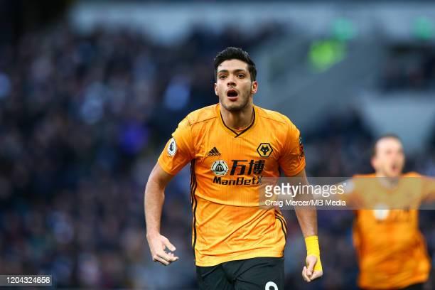 Raul Jimenez of Wolverhampton Wanderers celebrates scoring his side's third goal during the Premier League match between Tottenham Hotspur and...