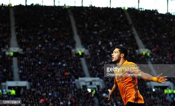 Raul Jimenez of Wolverhampton Wanderers celebrates scoring his teams third goal during the Premier League match between Tottenham Hotspur and...