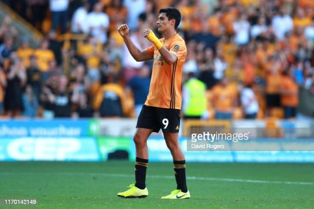 Raul Jimenez of Wolverhampton Wanderers celebrates scoring lastminute penalty equalizer during the Premier League match between Wolverhampton...
