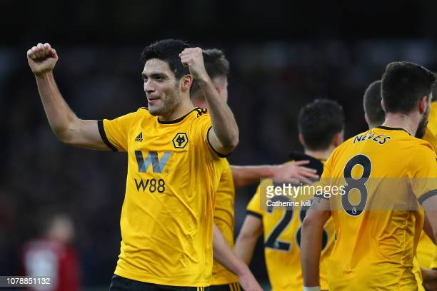 Raul Jimenez of Wolverhampton Wanderers celebrates scoring the opening goal during the Emirates FA Cup Third Round match between Wolverhampton...