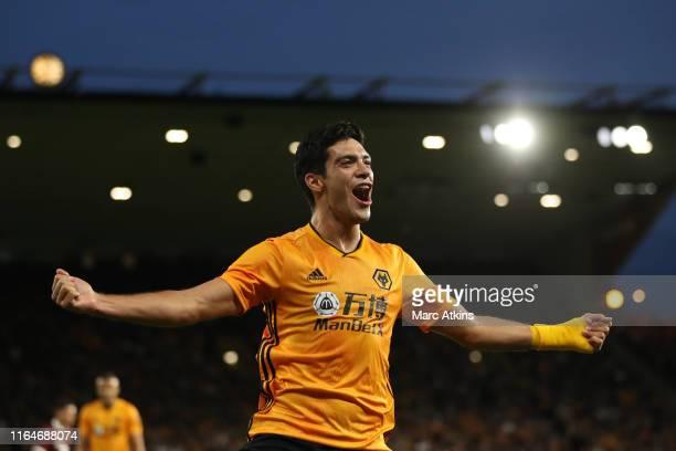 Raul Jimenez of Wolverhampton Wanderers celebrates scoring the opening goal during the UEFA Europa League Play-Off: Second Leg between Wolverhampton...