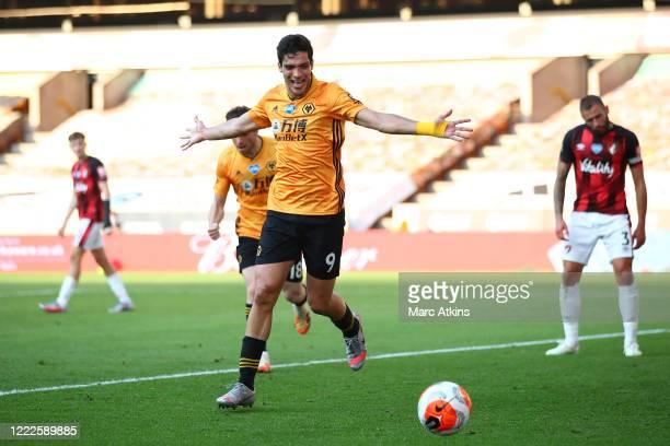 Raul Jimenez of Wolverhampton Wanderers celebrates scoring the opening goal during the Premier League match between Wolverhampton Wanderers and AFC...