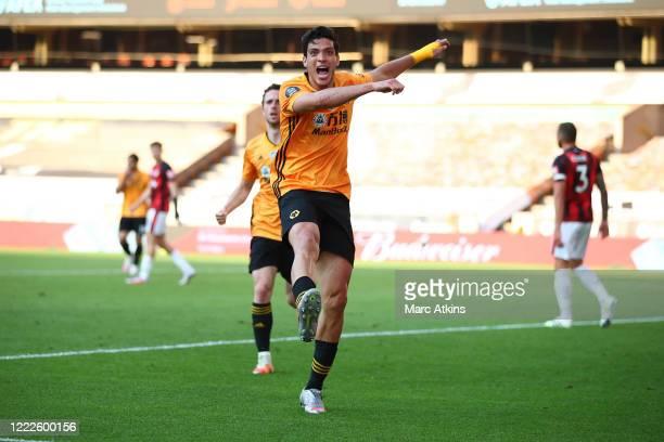 Raul Jimenez of Wolverhampton Wanderers celebrates scoring the winning goal during the Premier League match between Wolverhampton Wanderers and AFC...