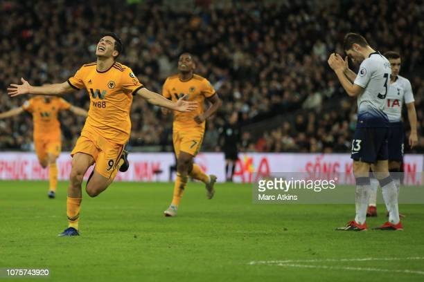 Raul Jimenez of Wolverhampton Wanderers celebrates scoring their 2nd goal during the Premier League match between Tottenham Hotspur and Wolverhampton...