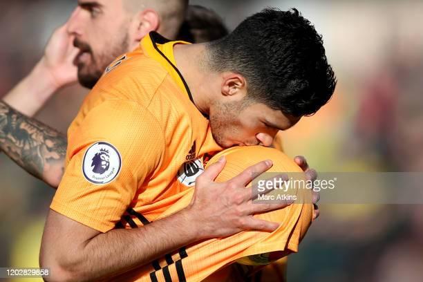Raul Jimenez of Wolverhampton Wanderers celebrates scoring their 3rd goal during the Premier League match between Wolverhampton Wanderers and Norwich...