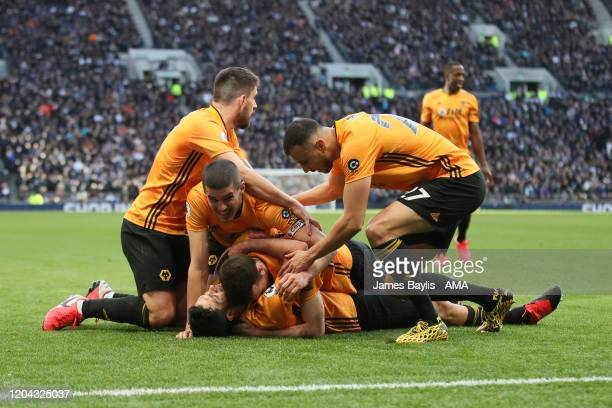Raul Jimenez of Wolverhampton Wanderers celebrates with his team mates after scoring a goal to make it 23 during the Premier League match between...