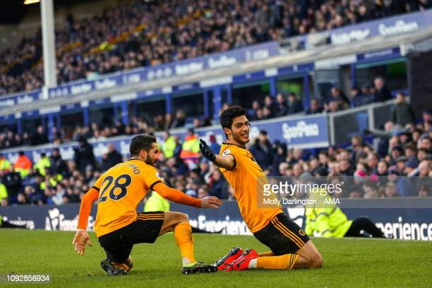 Raul Jimenez of Wolverhampton Wanderers celebrates with Joao Moutinho of Wolverhampton Wanderers after scoring a goal to make it 12 during the...