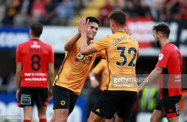 Raul Jimenez of Wolverhampton Wanderers celebrates with team mate Leander Dendoncker after scoring their first goal during the UEFA Europa League...