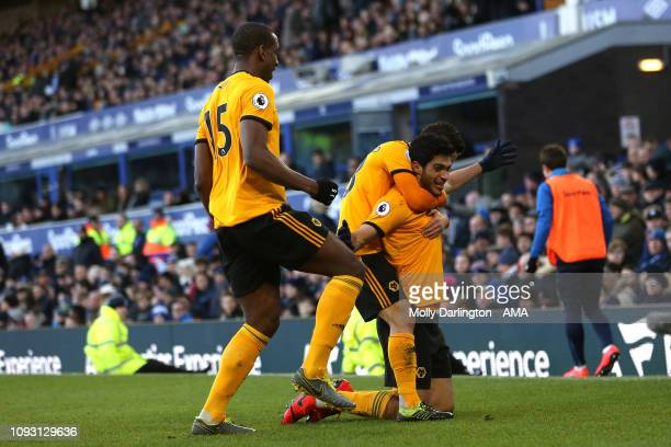 Raul Jimenez of Wolverhampton Wanderers celebrates with team mates after scoring a goal to make it 12 during the Premier League match between Everton...