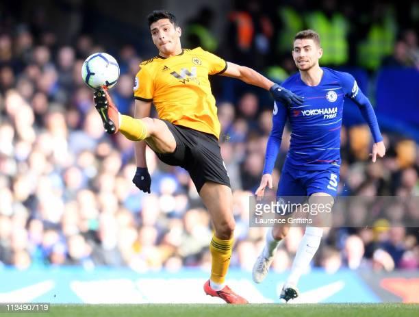 Raul Jimenez of Wolverhampton Wanderers controls the ball during the Premier League match between Chelsea FC and Wolverhampton Wanderers at Stamford...